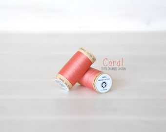 Organic Cotton Thread GOTS - 300 Yards Wooden Spool  - Thread Color Coral - No. 4807 - Eco Friendly Thread - 100% Organic Cotton Thread