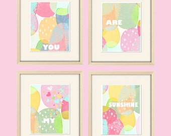 you are my sunshine prints baby girl nursery decor carnival prints colorful nursery art love art baby girl art baby shower gift pastel art