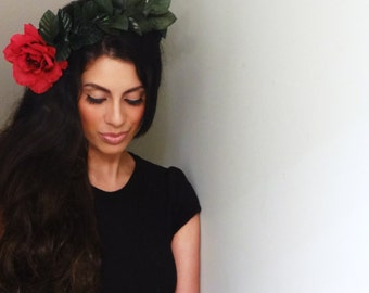 RED Flower Crown, Boho Flower Crown, Red Hair Accessory
