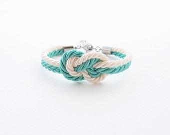 Mint ivory cream wedding - asking bridesmaid bracelet - beach wedding jewelry - beach wedding- tie the knot bracelet - nautical wedding gift