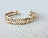 Real Braided Gold Cuff Bracelet Brass Bangle Friendship Bracelet Braid Gold Cuff Bohochic