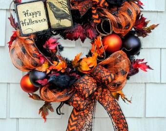 "Halloween Wreath  Happy Halloween Sign on a 20"" Wreath Base Deco Mesh Creepy Crows Spooky Black Orange"
