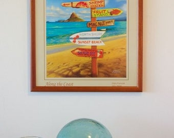 Along The Coast - hawaiian travel signpost art painting poster