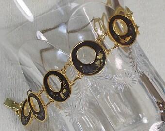 Damascene Black and Gold Finish Round Link Bracelet 1024