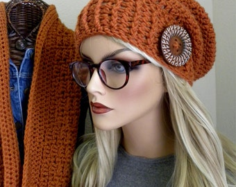 Infinity Scarf and Hat, Knit Scarf, Winter Hat/ Scarf Set,Womens Winter Accessory, Orange Infinty Scarf, Slouchy Beanie
