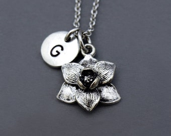 Magnolia flower necklace, Silver Magnolia flower charm, garden charm, Magnolia jewelry, initial necklace, personalized, monogram