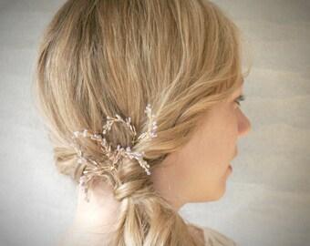 Lavender Sprigs Bridal Hair Pin Set of Three. Garden Backyard Wedding Hair Accessory. Botanical Hair Pins. Lavender Hair Accessory