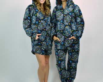 Day-of-the-Dead Skull Funsie Onesie Fleece