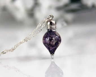 Vial Necklace - Dainty Necklace - Lilac Necklace - Terrarium Necklace - Real Lilac Necklace - Tiny Necklace