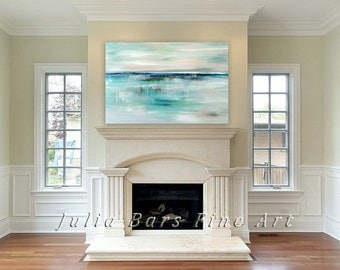 Abstract Seascape Giclee Print, Turquoise Blue Art Print on Canvas Coastal Art Original Painting Contemporary Artwork Wall Art by Julia Bars