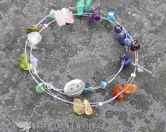 Chakra Dragonfly Gemstone Necklace or Bracelet, Chakra Gemstones, Dragonfly charm, Necklace or Bracelet