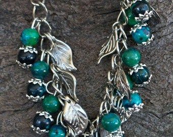 FREE SHIPPING WORLDWIDE-Chrysocolla Bracelet-Leaf Charm Bracelet-Green Bracelet-Gemstone Bracelet-Adjustable Bracelet-Reiki Jewellery
