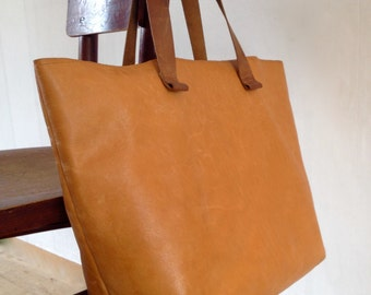 Leather Shopper bag with inside pocket-Handmade Leather Tote Bag