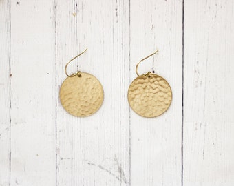 Minimal Hammered Brass Circle Earrings