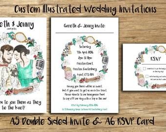 Printed Illustrated Unique Design Custom Wedding Invites with RSVP Any Quantity