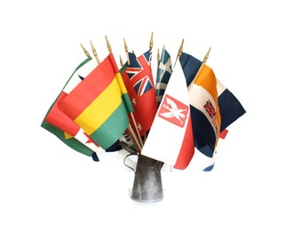 26 Flags Around the World, 1950s Collection, Screen Printed on Stick