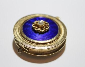 Vintage Solid Perfume Locket Pendant Compact Pendant Florenza Italian Goldtone Royal Blue Vintage Compact