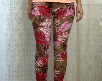 Beige Yoga Leggings, Printed Brown Tights, Patterned Organic Leggings, Skinny Workout Pants, Casual Footless Tights, Gift for Women