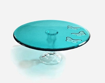 """Butterfly Cake Stand - Fused Glass Cake Stand (10"""") - Aqua Blue Glass Serving Plate - Candle Stand - Centerpiece - Functional Art Glass"""