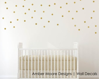 Gold Polka Dot Wall Decals - Confetti Polka Dot Wall Decals Set of 110
