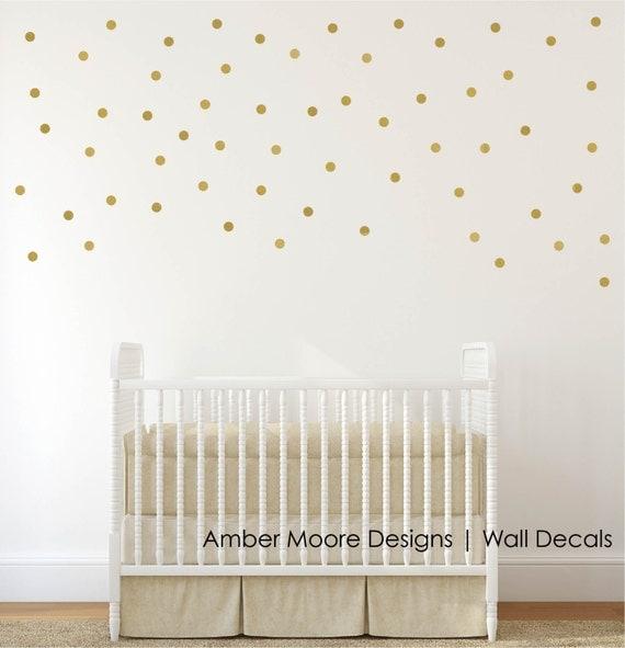 Gold Polka Dot Wall Decals - Confetti Polka Dot Wall Decals Set of 110