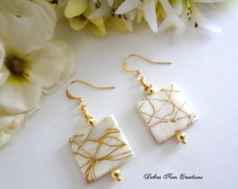 White Mother of Pearl Shell Earrings Mother of Pearl Shell Jewelry Set White Shell Earrings Summer Earrings White Earrings Gift MOP Jewelry