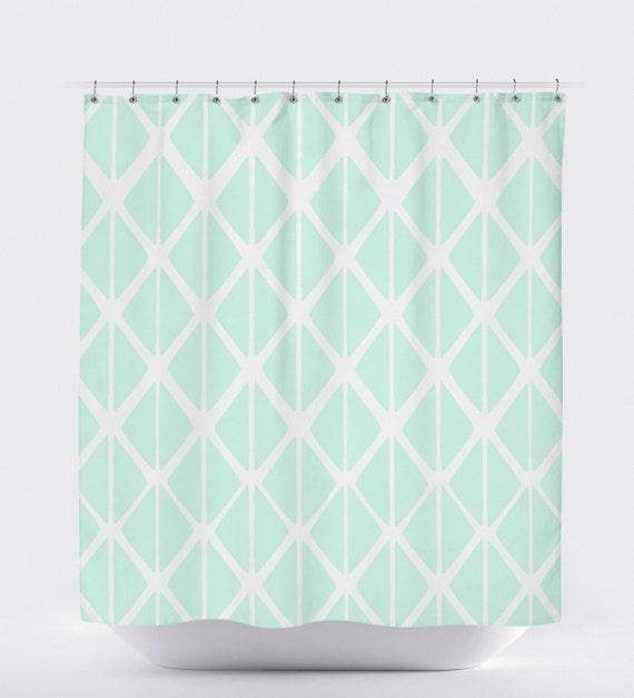Mint Shower Curtain Geometric Shower Curtain Bathroom Art
