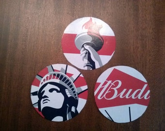 Budweiser Patriotic Statue of Liberty upcycled coasters, large pair
