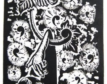Floating Flowers and boy - original wood block print  by Djuwadi