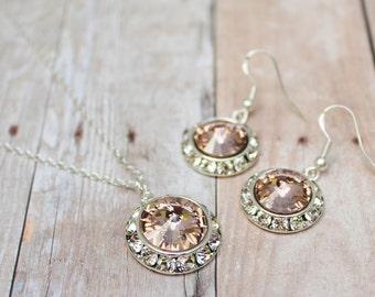 Blush Earrings Bridesmaid Jewelry Set Blush Pink Bridesmaid Jewelry Flower Girl Jewelry Blush Bridesmaid Vintage Blush Vintage Rose