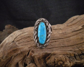 Size 7 Sterling Silver Chain Turquoise Ring Unique Ring Signed Piece Handmade