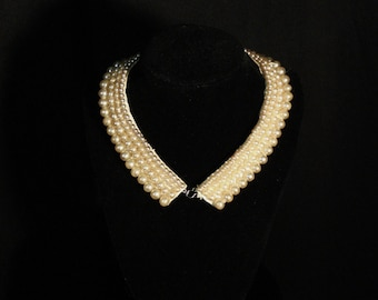 Pearl Collar Retro Chic Victorian Upcycle Accessory Vintage Chocker Necklace
