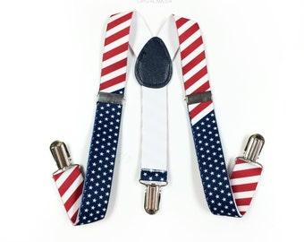 Kid's suspenders, American Flag Suspenders, Toddler's Suspenders, USA suspenders, USA, Stars and Stripes, USA Flag, Flag Clothing Suspenders