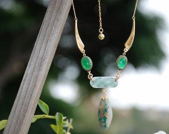Green Jade Bib necklace 14 Kt gold plated Wings Necklace Precious Gemstone necklace Precious gemstone jewelry Jade jewelry