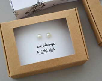 Small pearl studs, pearl stud earrings sterling silver, real pearl studs - bridesmaids gift -