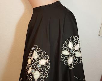 FREE  SHIPPING   1950  Beaded Full Circle Skirt