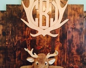Deer Antler Monogram, Deer Monogram, Deer Antler Wall Hanging, Wall Decor, Rustic Home Decor