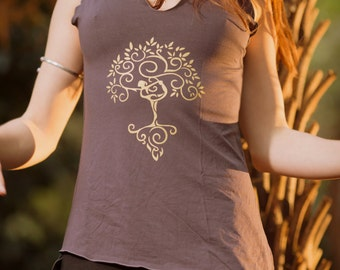 Asymet Tree of Life Top (Mauve) - Yoga Cut Indie Boho Gypsy Bohemian Shirt Sacred Geometry Tree of Life Singlet