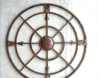 "21"" Compass, Nautical Decor, Metal Compass Wall Art, Metal Wall Art, Nautical Compass, Nautical Wall Decor, Rustic Decor, Industrial"