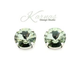 BLACK DIAMOND 14mm Crystal Rivoli Stud Earrings Made With Swarovski Elements *Rhodium or Antique Silver *Karnas Design Studio *Free Shipping