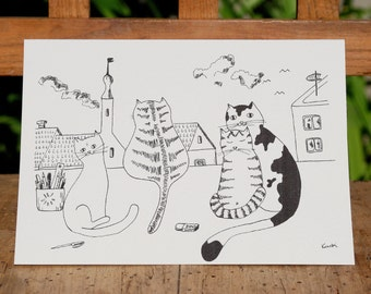 Cat greeting card with 4 cats at the window. Cat birthday card. Any occasion card. Card for cat lovers.