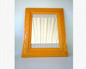 Vanity Mirror Hanging Anchor Sailor Nautical Wall Mirror Marigold Tangerine Hand Painted Solid Wood Frame Home Decor Bathroom Makeup Hair