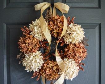 Fall Wreath   Autumn Entryway Wreath   Fall Decor   Hydrangea Wreath   Fall Wreaths   Thanksgiving Wreath   THANKSGIVING DECOR