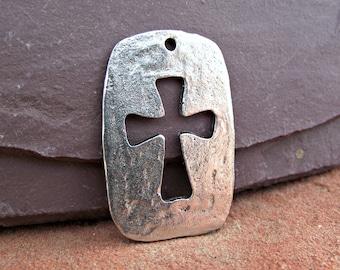 Large Hammered Silver Cross Pendant Cutout Focal Bohemian Pewter Rustic C-80,large cross pendant,hammer cross pendant,silver cross pendant