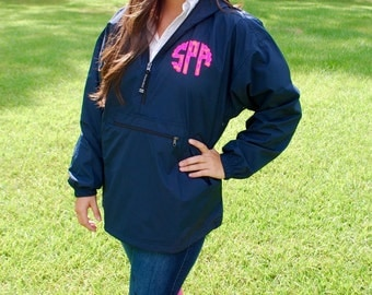 Preppy Charles River Pack N Go Pullover Wind Jacket with Double Scalloped Lilly Pulitzer Monogram Rain Jacket
