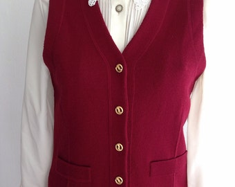 Vintage Women's 60S Bordeaux Woven Vest With Gold Buttons Size 38