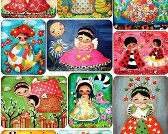 Stickers-LANA COFFILL DREAMWORLD-Artist Series-Decoupage-Collage-Mixed Media-Scrapbooking-One (1) Sheet-Violette Stickers