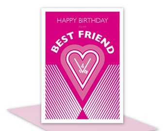 Best Friend Happy Birthday card for girl woman female friend for ever, personalised inside message option, heart & typography hot pink