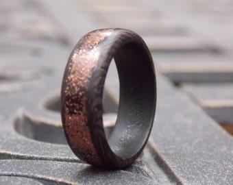 Men's Copper Splash on  Wenge wood ring size 7 1/4