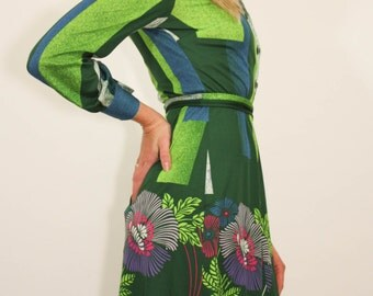 Neon Green Geometric Floral 70's Vintage Dress